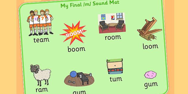 Final M Sound Word Mat 2 - final m, sound, word mat, word, mat