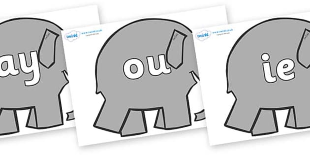 Phase 5 Phonemes on Elephants to Support Teaching on Elmer - Phonemes, phoneme, Phase 5, Phase five, Foundation, Literacy, Letters and Sounds, DfES, display