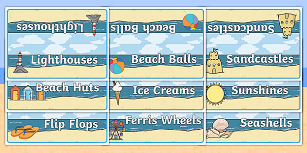 Editable Table Signs Seaside Themed - editable, table signs, group, table, sign, display, seaside