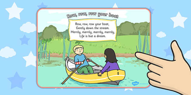 Row Row Row Your Boat Nursery Rhyme Display Poster - displays
