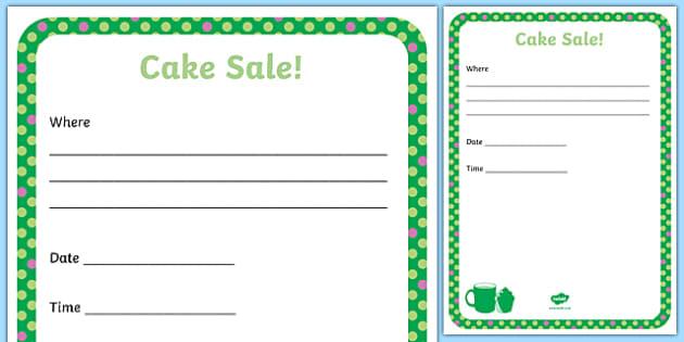 Cake Sale Design Poster Activity Sheet, worksheet