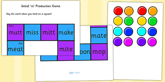 Initial 'm' Production Game - m, vowel, sounds, sound, game