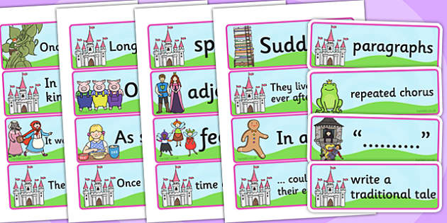 Traditional Tales Display Word Cards - trad tales, visual aids