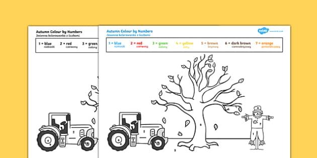 Autumn Themed Colour by Numbers Polish Translation-Polish-translation