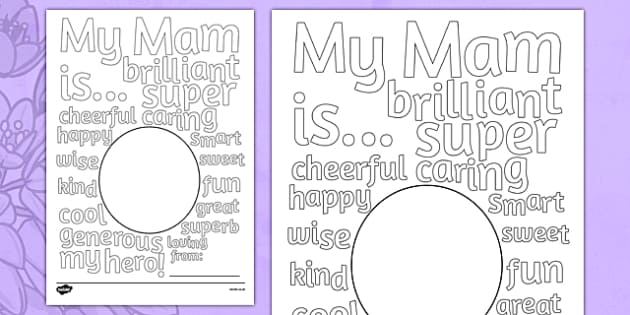 Mother's Day Describing Words Card Irish - mams, mammy, celebration, Ireland
