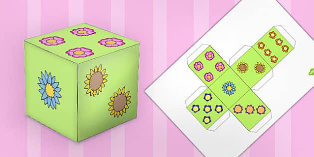 Flower Dice Net - flower, dice, net, dice net, cube net, cube