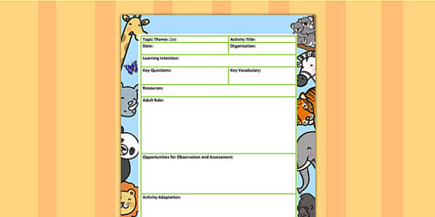 Zoo Themed Adult Led Focus Planning Template - plans, plan, zoo