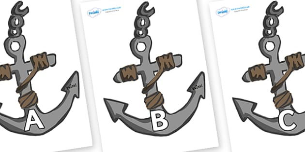 A-Z Alphabet on Anchors - A-Z, A4, display, Alphabet frieze, Display letters, Letter posters, A-Z letters, Alphabet flashcards