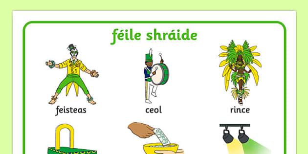 Carnival Word Mat Gaeilge -  EAL, translated, feile shraide, Rio, festival