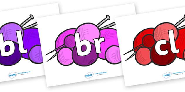 Initial Letter Blends on Balls of Wool - Initial Letters, initial letter, letter blend, letter blends, consonant, consonants, digraph, trigraph, literacy, alphabet, letters, foundation stage literacy