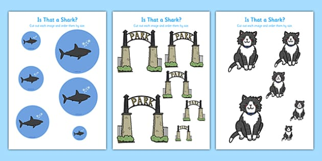 Is That a Shark? Size Ordering - is that a shark, shark in the park, Nick Sharratt, storybook, size ordering