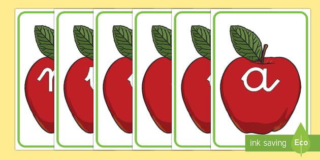 Manzanas rojas tarjetas de fonemas - lecto, leer, primeros sonidos, comida,Spanish, fruta
