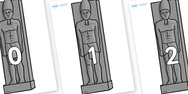Numbers 0-50 on Egyptain Statues - 0-50, foundation stage numeracy, Number recognition, Number flashcards, counting, number frieze, Display numbers, number posters