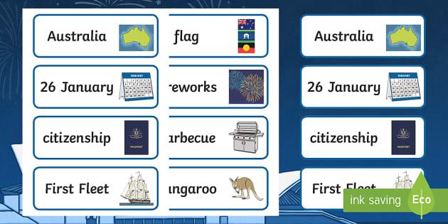 Australia Day Word Cards - australia, day, word cards, cards