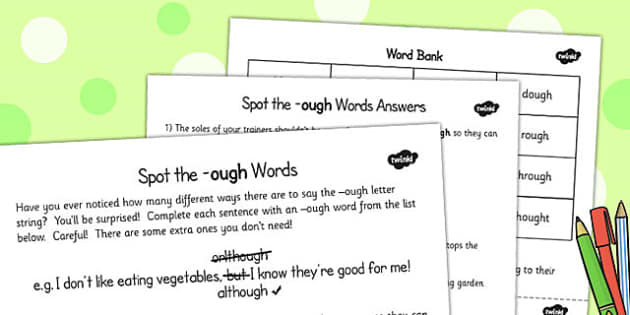 LKS2 Read Further Exception Words ough Words Activity - activity