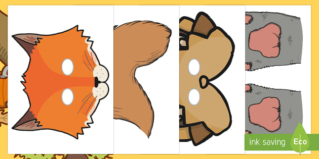 Autumn Animal Photo Booth Role Play Props Resource Pack