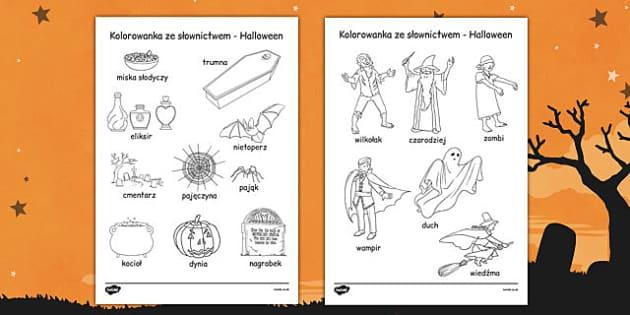 Kolorowanka ze słowami Halloween po polsku - początkowe