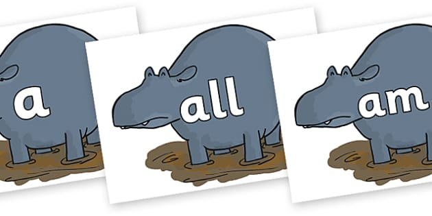 Foundation Stage 2 Keywords on Humpy Rumpy Hippopotamus to Support Teaching on The Enormous Crocodile - FS2, CLL, keywords, Communication language and literacy,  Display, Key words, high frequency words, foundation stage literacy, DfES Letters and So