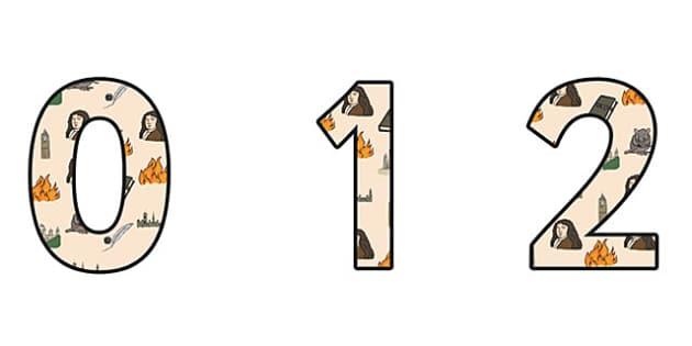 Samuel Pepys Themed A4 Display Numbers - Samuel Pepys, display numbers, themed number, classroom number, numbers for display, a4 number, display