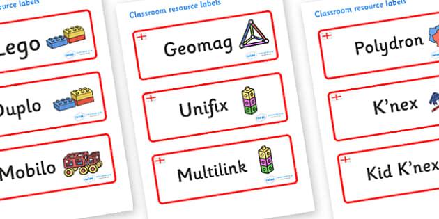England Themed Editable Construction Area Resource Labels - Themed Construction resource labels, Label template, Resource Label, Name Labels, Editable Labels, Drawer Labels, KS1 Labels, Foundation Labels, Foundation Stage Labels