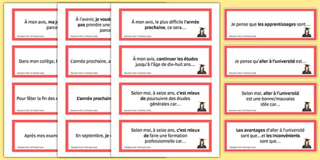 General Conversation Question Prompt Cards Education Post 16 - french, Conversation, Speaking, Questions, Education, Éducation, Studies, Études, College, Lycée, Baccalauréat, A levels, Exams, Examens, University, Université, Apprenticeship, Apprentis