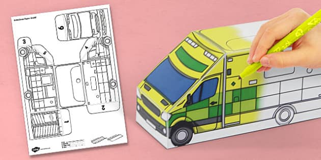 3D Ambulance Paper Model Activity - activities, crafts, craft
