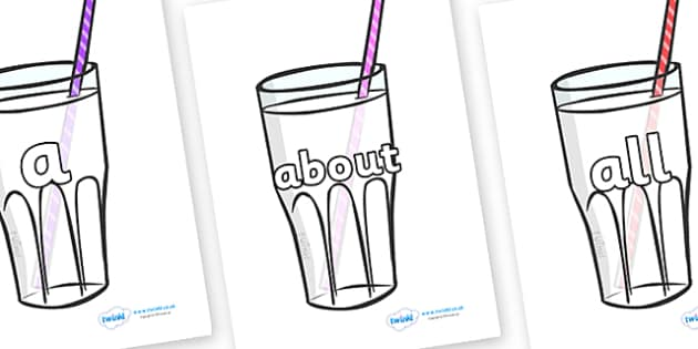100 High Frequency Words on Milkshakes - High frequency words, hfw, DfES Letters and Sounds, Letters and Sounds, display words