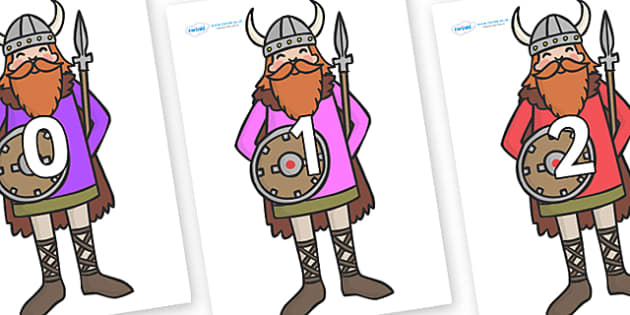 Numbers 0-31 on Vikings - 0-31, foundation stage numeracy, Number recognition, Number flashcards, counting, number frieze, Display numbers, number posters