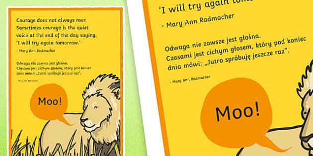 Courage Does Not Always Roar Motivational Poster Polish Translation - polish, motivational
