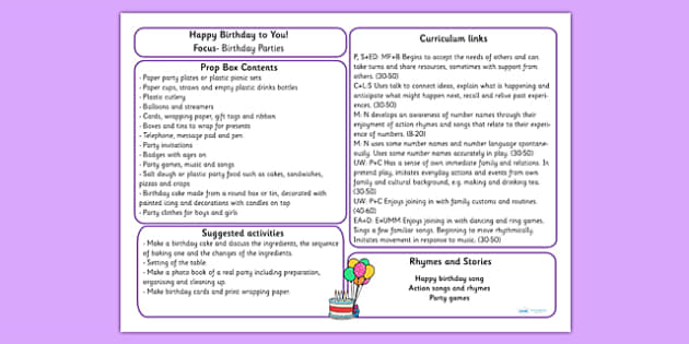 Happy Birthday to You Prop Box Plan - birthday, birthday roleplay