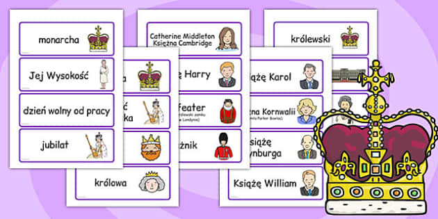 Karty ze słownictwem Rodzina królewska po polsku - edukacja , Polish
