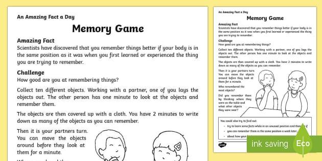 Memory Game Activity Sheet