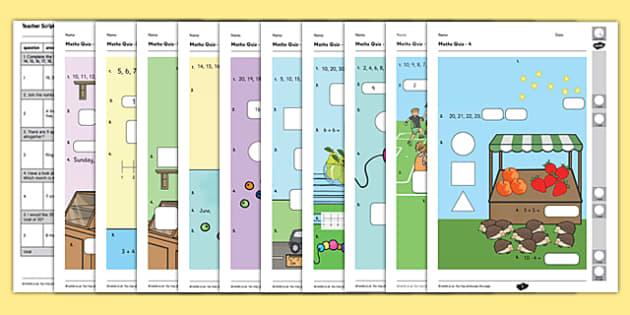 Year 1 Maths Quiz Challenge 1 Activity Sheet Pack, worksheet