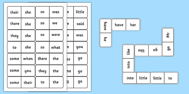 Tricky Words Dominoes - tricky words, word games, domino, game