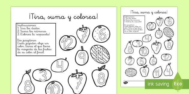 La fruta Ficha de tirar el dado y colorear - números, sumas, fruta, Spanish