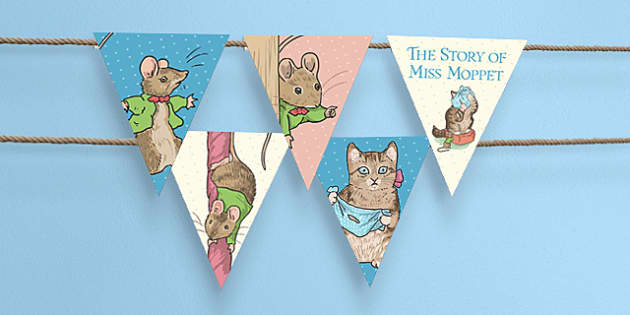 The Story of Miss Moppet Bunting - miss moppet, bunting, display, classroom, story, beatrix potter