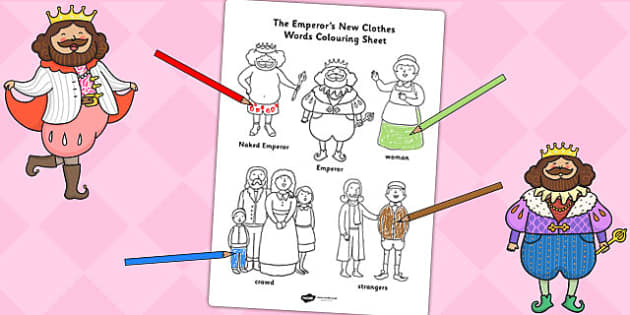 The Emperor's New Clothes Words Colouring Sheet - story books