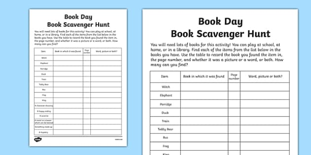 Book Day Scavenger Hunt Checklist