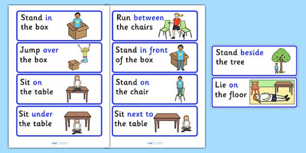 Preposition Picture Instructions - SEN, visual aid, position, prepositions
