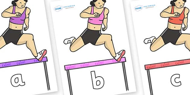Phase 2 Phonemes on Olympic Hurdles - Phonemes, phoneme, Phase 2, Phase two, Foundation, Literacy, Letters and Sounds, DfES, display