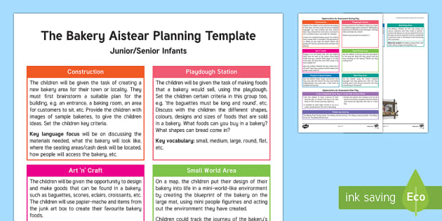 The Bakery Aistear Planning Template - Aistear, Infants, English Oral Language, School, The Garda Station, The Hairdressers, The Airport, T