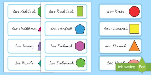 2D Shape Word Cards German - german, 2d shape, word cards, 2d, shape, maths, numeracy