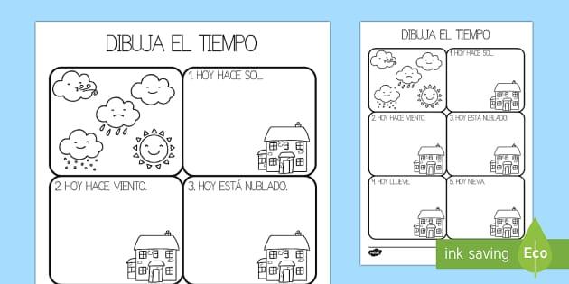El tiempo Ficha de leer y dibujar - El tiempo y las estaciones del año, proyecto, comprensión, creatividad,Spanish