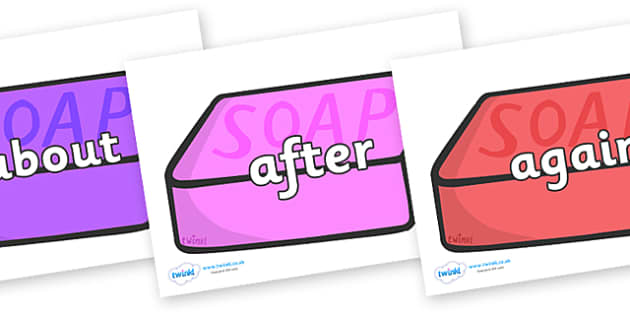 KS1 Keywords on Soap (Multicolour) - KS1, CLL, Communication language and literacy, Display, Key words, high frequency words, foundation stage literacy, DfES Letters and Sounds, Letters and Sounds, spelling
