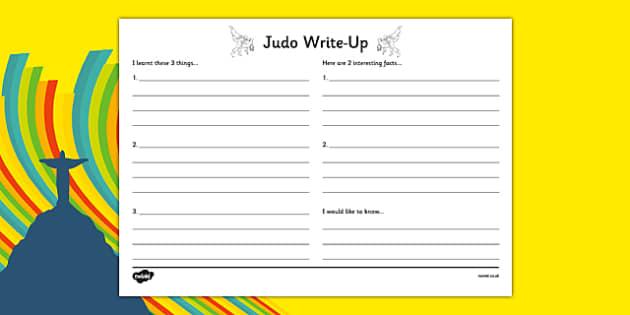 Rio 2016 Olympics Judo Write Up Worksheet - rio 2016, 2016 olympics, rio olympics, judo, write up