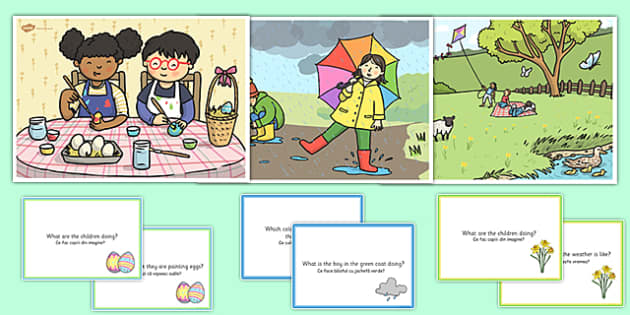 Spring Showers Scene and Question Cards Romanian Translation - romanian, spring scenes, questions, comprehension pack