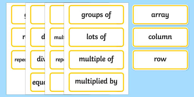 Year 2 2014 Curriculum Multiplication and Division Vocabulary Card
