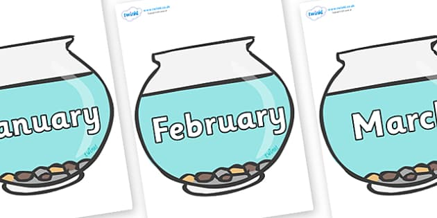 Months of the Year on Fish Bowls - Months of the Year, Months poster, Months display, display, poster, frieze, Months, month, January, February, March, April, May, June, July, August, September