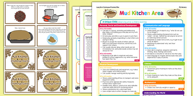 Mud Kitchen Continuous Provision Plan Poster and Challenge Cards Pack Nursery FS1