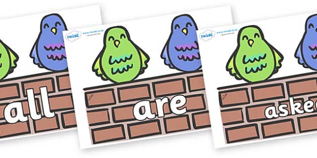 Tricky Words on Two Little Dickie Birds - Tricky words, DfES Letters and Sounds, Letters and sounds, display, words